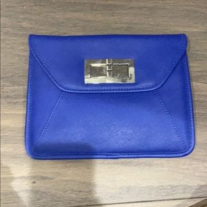 Blue leather envelope clutch with metal chain